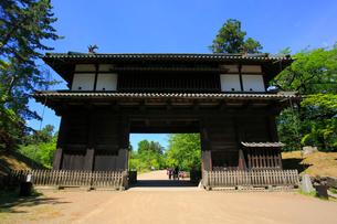 弘前城の東門と幼稚園児の写真素材 [FYI03364008]