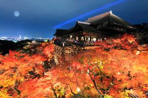 秋の清水寺本堂と紅葉のライトアップに京都の街明かりと月の写真素材 [FYI03364718]