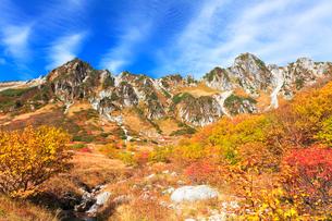 秋の中央アルプス,千畳敷カ-ルの紅葉とせせらぎの写真素材 [FYI03364796]