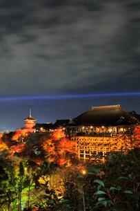 秋の清水寺・紅葉にライトアップと京都の街明かりの写真素材 [FYI03364931]