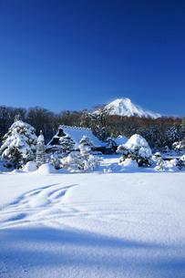 雪景色の忍野と富士山の写真素材 [FYI03365032]