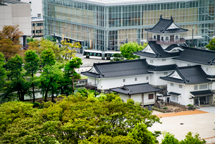富山城と路面電車(富山地方鉄道)1の写真素材 [FYI03365098]