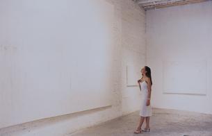 ギャラリーで絵を見る外国人女性の写真素材 [FYI03365539]