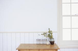 木のテーブルと花器に活けた植物の写真素材 [FYI03367447]