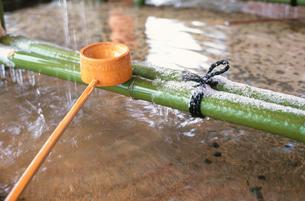 手水の柄杓と雪 京都の写真素材 [FYI03367994]