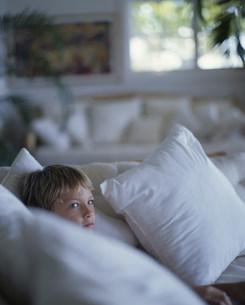 ソファに横になる男の子の写真素材 [FYI03368517]
