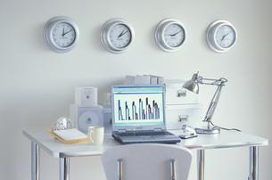 4個の掛け時計の並んだ壁と机とデスクの写真素材 [FYI03368999]