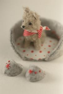 ベッドの中の犬のぬいぐるみの写真素材 [FYI03369199]