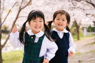 桜の公園の子どもの写真素材 [FYI03369948]