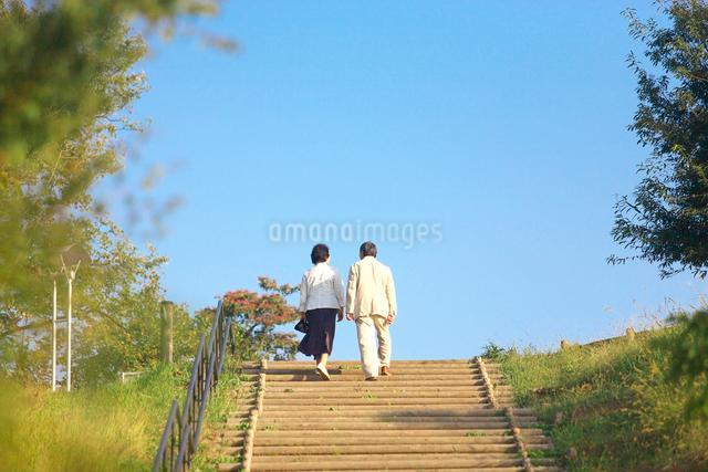 公園の階段を上るシニアの夫婦の写真素材 [FYI03370311]