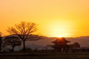 平城宮跡の朝の写真素材 [FYI03373989]