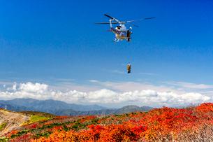 栗駒山山頂でのヘリコプターによる登山者救助活動を望むの写真素材 [FYI03374237]