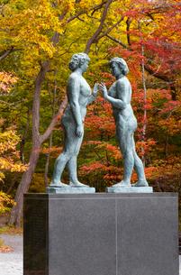 秋の十和田湖畔に建つ乙女の像を湖畔より望むの写真素材 [FYI03374311]