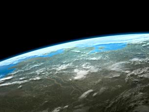 衛星軌道から眺めるカナダ北極圏の沿岸地域のイラスト素材 [FYI03375039]