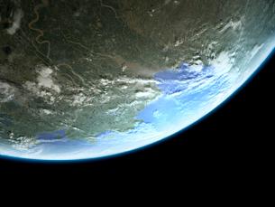 衛星軌道から眺めるカナダ北極圏の沿岸地域のイラスト素材 [FYI03375040]
