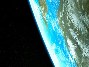 星が瞬く衛星軌道から眺めるアフリカ大陸とマダカスカル島のイラスト素材 [FYI03375041]