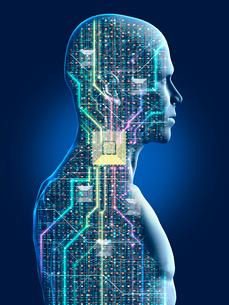 透けて見える人型ロボットの制御システムのイラスト素材 [FYI03375042]