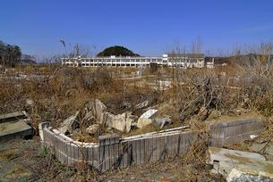 鳴瀬第二中学校と建物跡の写真素材 [FYI03375207]