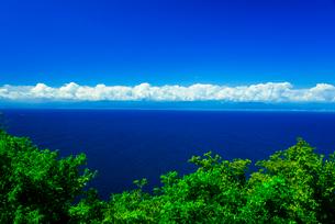 伊豆出逢い岬より駿河湾と積乱雲の写真素材 [FYI03375675]