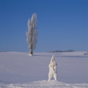 雪上の丘の妖精人形 フォトイラスト 美瑛 北海道の写真素材 [FYI03376119]