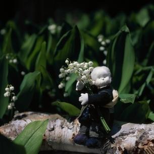 スズランの花と丘の妖精人形のアップ フォトイラスト 美瑛の写真素材 [FYI03376143]