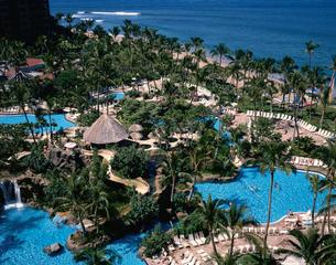 ウエスティンマウイホテルの庭とカアナパリビーチの写真素材 [FYI03376183]