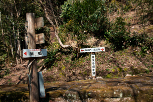 羅漢寺旧参道の標識の写真素材 [FYI03376715]