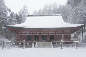 雪の比叡山延暦寺 釈迦堂(転法輪堂)の写真素材 [FYI03377018]