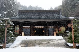 雪の近江神宮内拝殿の写真素材 [FYI03377129]