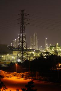 鹿嶋工業地帯の夜景を望むの写真素材 [FYI03377638]