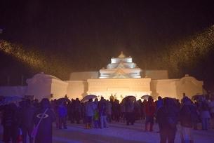 雪国 夜の雪まつり(奥会津、只見町)の写真素材 [FYI03377987]