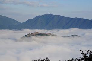 雲海に浮かぶ天空の城竹田城跡の写真素材 [FYI03383739]