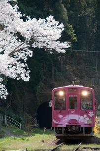 錦川清流線根笠駅へ向かうひだまり号の写真素材 [FYI03383930]