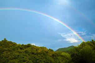 里山に架かる虹の写真素材 [FYI03385159]