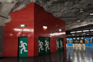 スウェーデン地下鉄ウニバーシィテェット駅のアートの写真素材 [FYI03385296]