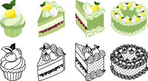 抹茶ケーキの可愛いアイコンの写真素材 [FYI03385556]