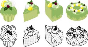 抹茶シフォンケーキの可愛いアイコンの写真素材 [FYI03385557]