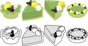 抹茶タルトの可愛いアイコンの写真素材 [FYI03385558]