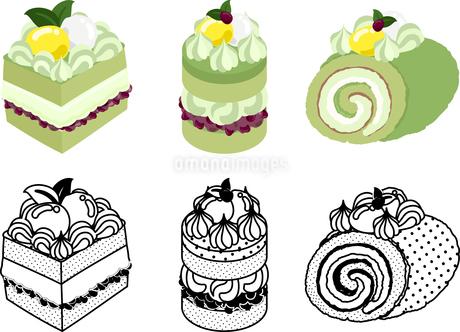 いろいろな抹茶ケーキの可愛いアイコンのイラスト素材 [FYI03385559]