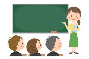 授業 女性教師と生徒のイラスト素材 [FYI03385588]