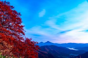 西吾妻スカイバレーよりブナの紅葉と磐梯山桧原湖の写真素材 [FYI03386321]