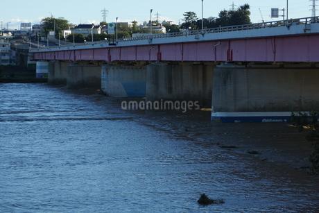 濁流と橋脚の写真素材 [FYI03386672]