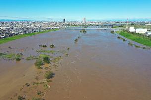 台風で増水した江戸川の写真素材 [FYI03386897]