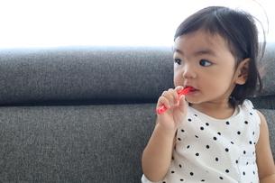 歯磨きをする女の子の写真素材 [FYI03387608]