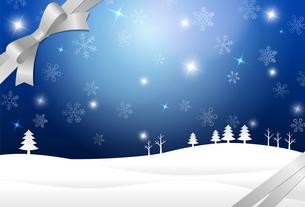 雪結晶の景色とリボンのイラスト素材 [FYI03387732]