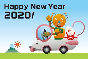 ネズミの形をした自動車を運転するロボット。年賀状のイラスト素材 [FYI03387773]