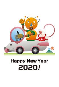 ネズミの形をした自動車を運転するロボット。年賀状のイラスト素材 [FYI03387775]