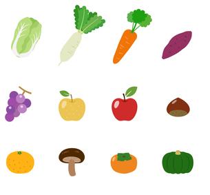 秋冬の果物と野菜セットのイラスト素材 [FYI03388050]