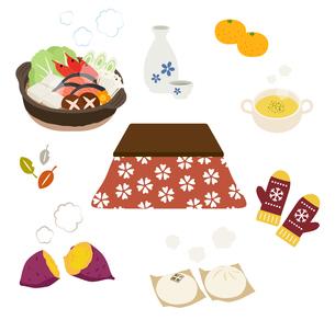 こたつと冬の暖かい食べ物のイラスト素材 [FYI03388058]