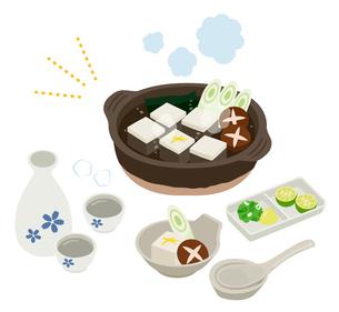 湯豆腐と日本酒セットのイラスト素材 [FYI03388067]